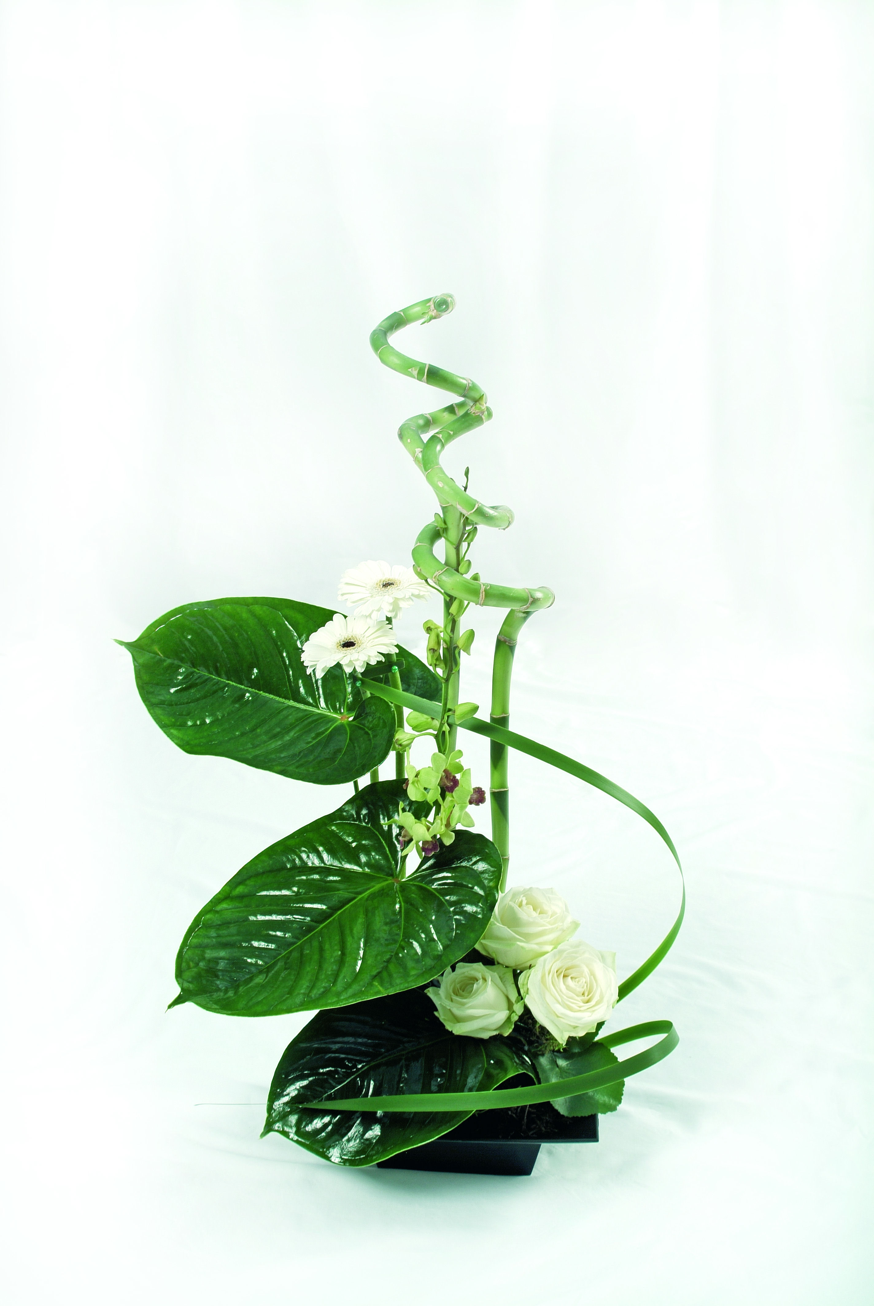 Elegant and modern bamboo and rose flower arrangement for Flower arrangements with roses
